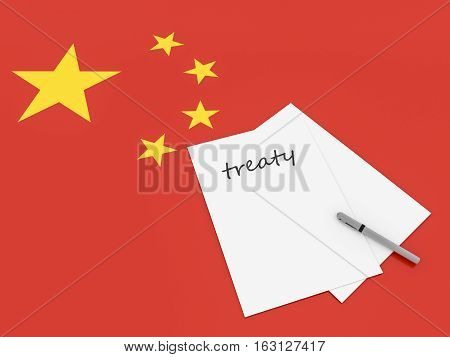Chinese Politics: Treaty Note With Pen On China Flag 3d illustration