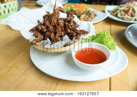 deep fried pork slice with herbs with delicious taste