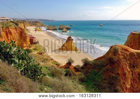 Portimao, Portugal, November 30, 2016: A part of the cliffs at Portimao in Portugal.