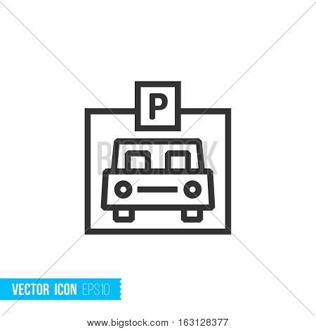 Parking, garage. Real estate outline vector icon