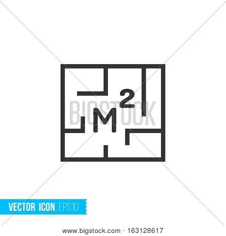 Area, structure house. Real estate outline vector icon