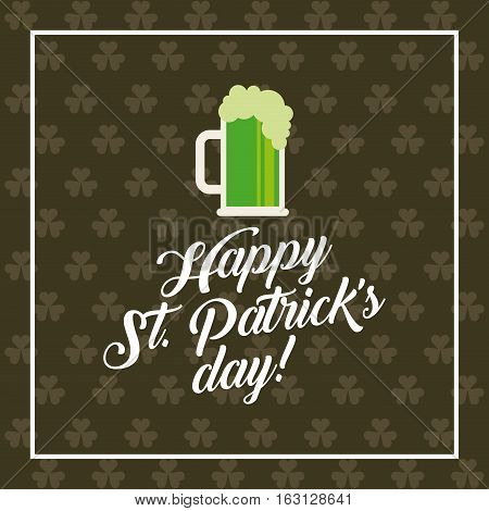 Saint Patrick's Day card with beer jar icon. colorful design. vector illustration