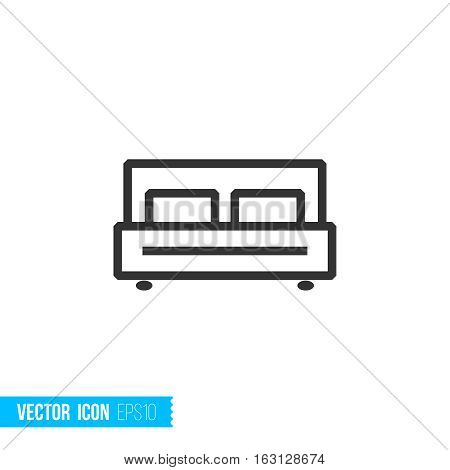 Bedroom concept. Real estate outline vector icon