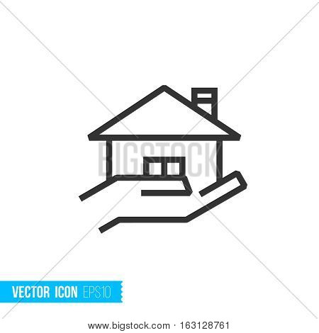 Ownership insurance. Real estate outline vector icon