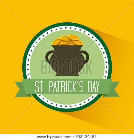 seal stamp of Saint Patrick's Day with pot of gold coins icon over yellow background. colorful design. vector illustration