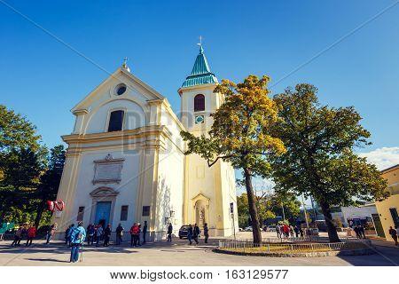 Vienna, Austria - 15 October, 2016: Tousists Visit St. Josefskirche At Kahlenberg In Vienna, Austria