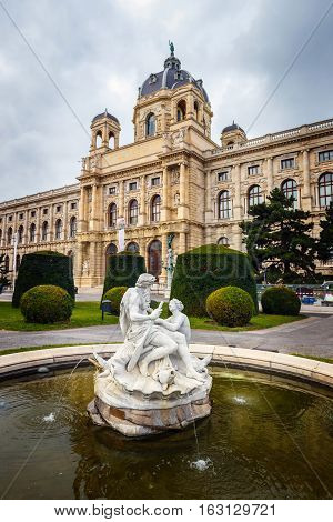 Vienna, Austria - 13 October, 2016: View Of Famous Natural History Museum With Park And Sculpture In