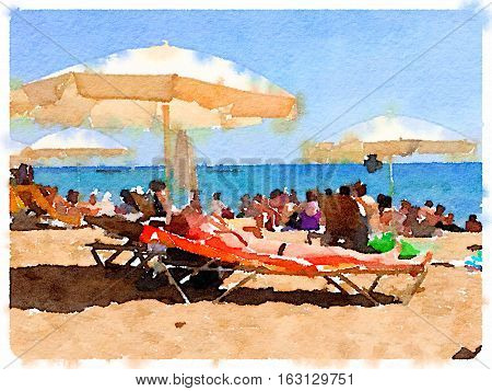 Digital watercolor painting of a beach in Barcelona in Spain. Parasols on the beach people relaxing on lounger chairs with the sea and horizon in the background. Space for text.