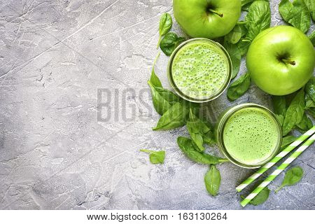 Spinach Apple Smoothie In A Mason Jar.top View With Copy Space.
