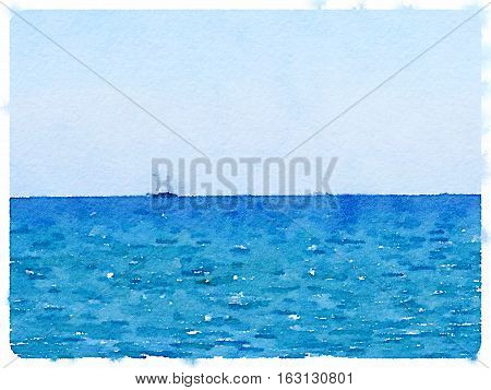 Digital watercolor painting of a sailing boat at sea with space for text.