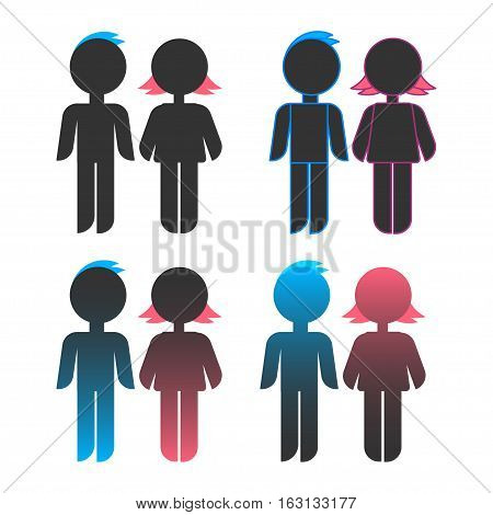 Icon set of blue stick figure man male and pink women female.