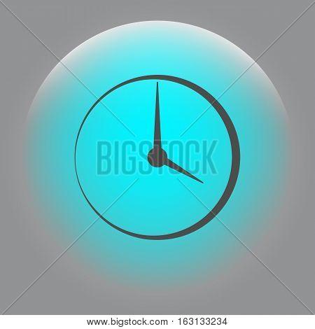 Flat Round Clock Vector Icon