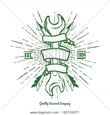 Vintage Hipster Logo Crossed Arrows and Wrench with Ribbon Vector illustration