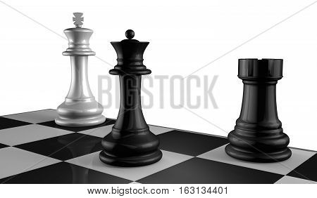 Chess Board with King Queen and Rook in Checkmate.