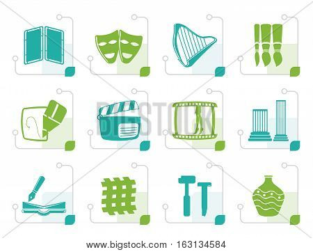 Stylized different kind of Arts Icons - Vector Icon Set