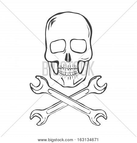 Hand Draw Skull with crossed wrenches on white background vector illustration