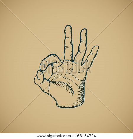 Hand draw sketch vintage okay hand sign vector illustration