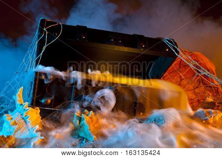 Pirate Treasure Chest with Fog and Colored Lighting