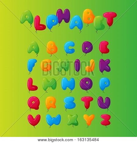 English balloon colorful alphabet on green background. Holidays and education ozone type. Greeting helium cartoon festive decoration vector illustration.