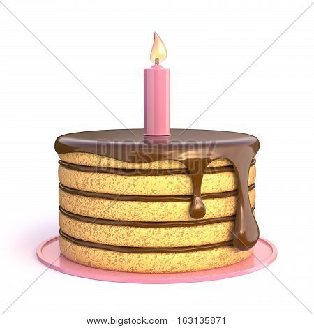 Birthday cake 3D render illustration isolated on white background