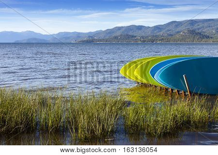 Rental Stand Up Paddle boards on shore of Lake Tahoe California.