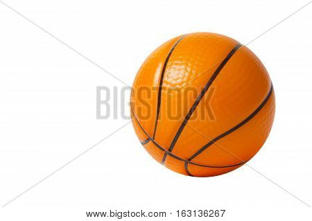 Toy rubber basket ball isolated on white background