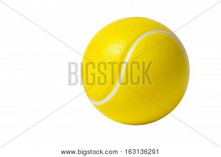 Toy rubber tennis ball isolated on white background