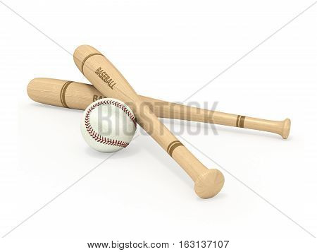 baseball bats and ball on a white background 3D