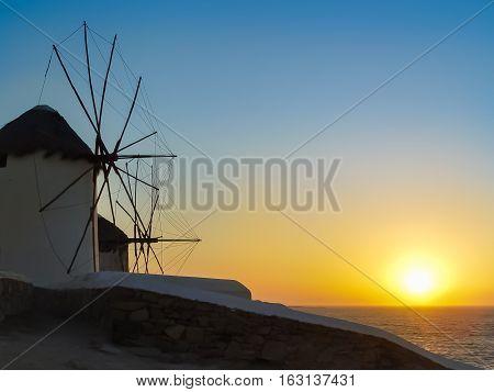 Five Decorative Windmills A Popular Tourist Destination In Mykonos