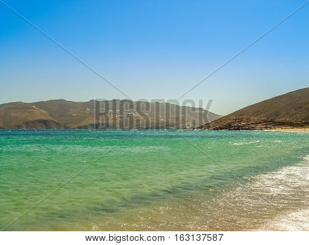 Ftelia Beach In Mykonos Aegean Sea In Greece