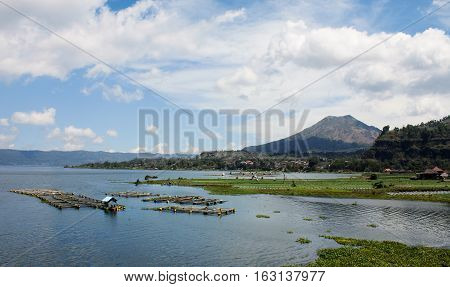 Panorama of Batur Volcano from the opposite side of Batur Lake Bali Indonesia