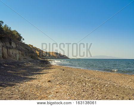 The Beach Near Exo Gialos In Santorini