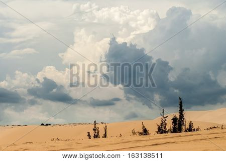 Dunes and white blue cumulus clouds Vietnam