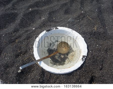 Detail Of Bowl And Scoop In Volcanic Sand In Santorini