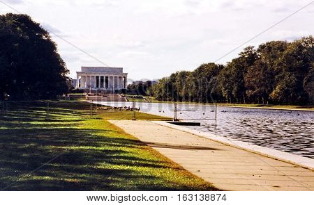 View of Lincoln National Memorial in Washington USA October 1997