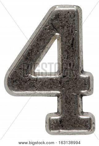 Metal numeral 4 four isolated on white background with clipping path