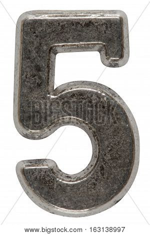 Metal numeral 5 five isolated on white background with clipping path