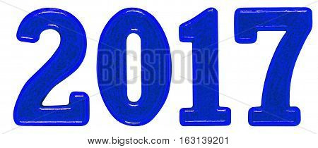 2017 inscription made of metal numerals isolated on white background