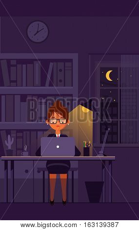 Business girl works on laptop at office till night. Vector illustration.