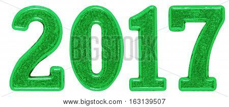 2017 inscription made of green metal numerals isolated on white background