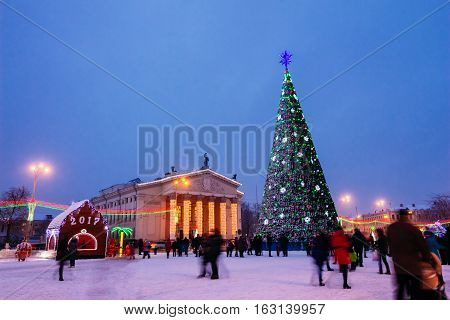 Central A Beautiful Christmas Tree In Gomel