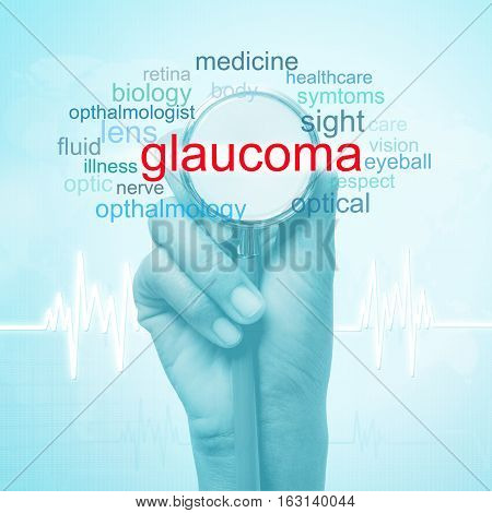 hand holding stethoscope with glaucoma word. medical concept