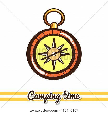 Hand drawn compass isolated on white background. One image of series Camping time. Vector illustration