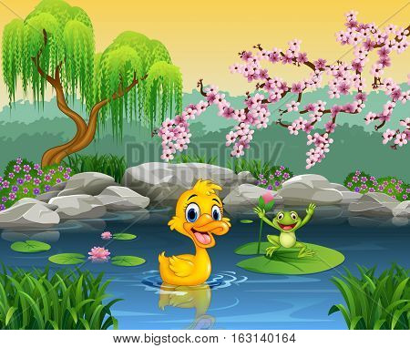 Vector illustration of Cute duck with happy frog