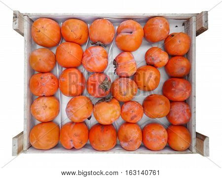 Persimmon fruit in the wooden box isolated on white. Clipping Path included