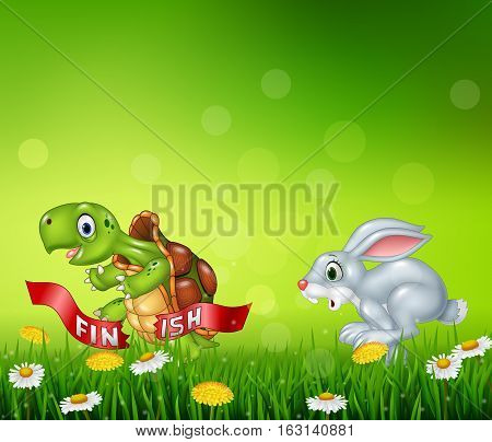 Vector illustration of Cartoon a turtle win the race against a bunny