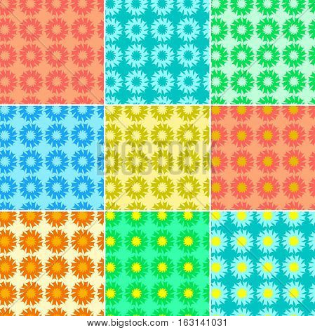 set of different color fractals and elements of rotation and torsion