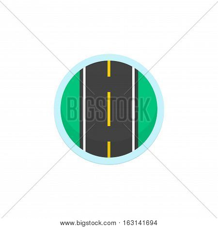 Road icon vector sign, round symbol with highway on white background