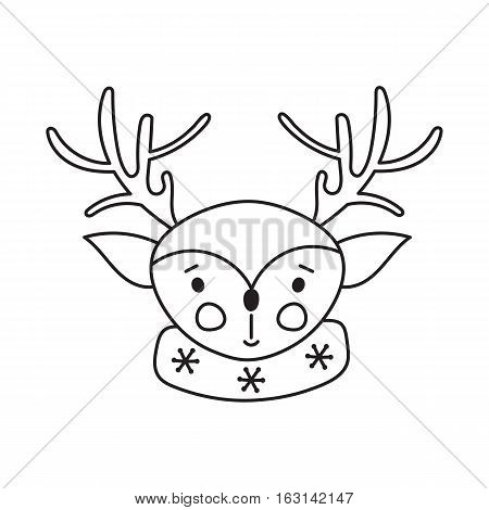 Hand drawn thin line icon, vector logo template illustration. Winter holiday decoration, Rudolf deer. New Year and Christmas isolated symbol. Black on white pictogram. Simple mono linear design.