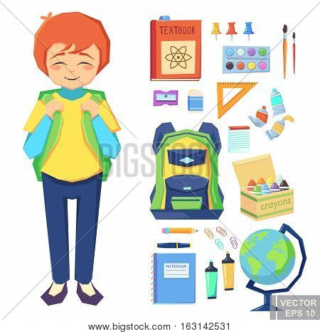Cute Boy Going To School Education Icons. Set Of Different Items, Cartoon Vector Illustration Eps10